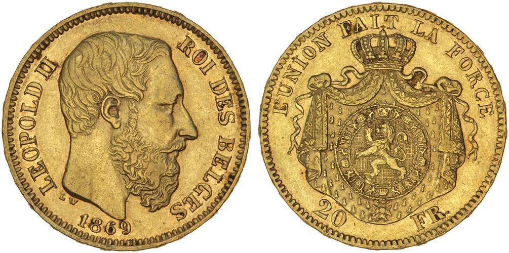 Moneda 20 franc b lgica oro 1877 leopold ii 1835 1909 precio km 32 fr 412 - Coin de finition plinthe ...