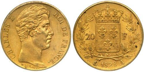 20 Franc Kingdom of France (1815-1830) Oro Carlo X di Francia (1757-1836)