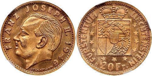 20 Franc Liechtenstein Oro