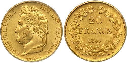 20 Franc Monarchia di Luglio (1830-1848) Oro Luigi Filippo di Francia (1773 -1850)