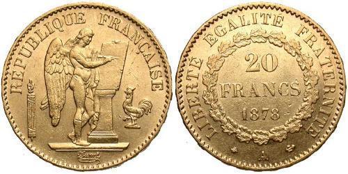 20 Franc Tercera República Francesa (1870-1940)  Oro