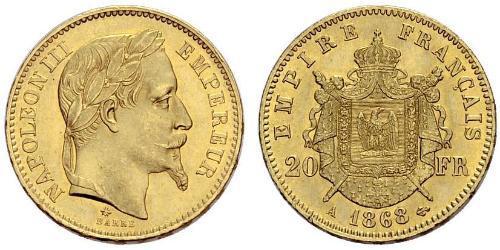 20 Franc 法蘭西第二帝國 (1852 - 1870)  拿破仑三世
