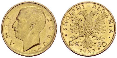 20 Franga Ari 阿尔巴尼亚共和国 (1925-1928) (1925 - 1928) 金 Zog I, Skanderbeg III of Albania