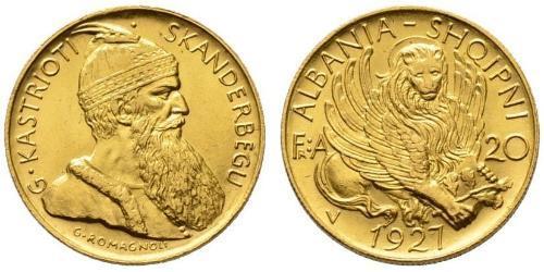 20 Franga Ari République albanaise (1925-1928) Or Zog I, Skanderbeg III of Albania