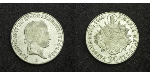 20 Kreuzer 奧地利帝國 (1804 - 1867) 銀 Ferdinand I of Austria (1793 - 1875)