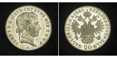 20 Kreuzer Imperio austríaco (1804-1867) Plata Ferdinand I of Austria (1793 - 1875)