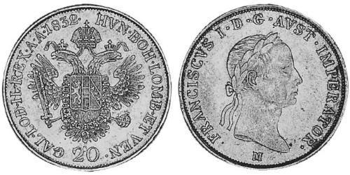 20 Kreuzer Imperio austríaco (1804-1867) Plata