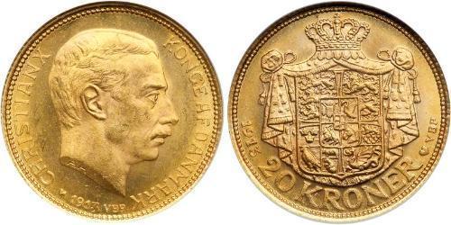 20 Krone Danimarca Oro Cristiano X di Danimarca (1870 - 1947)
