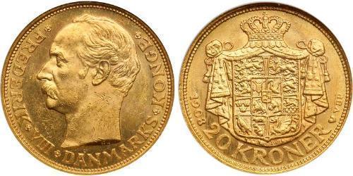 20 Krone Dinamarca Oro Federico VIII de Dinamarca (1843 - 1912)