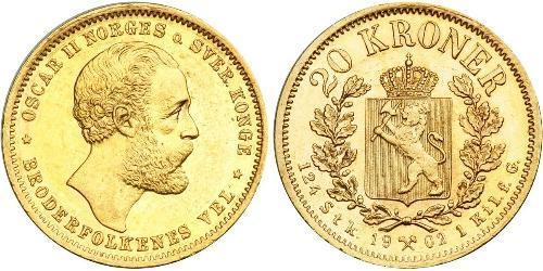 20 Krone Noruega Oro Óscar II de Suecia (1829-1907)
