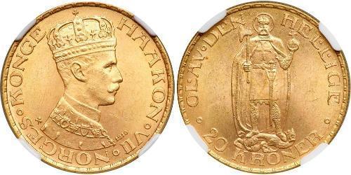 20 Krone Noruega (1905 - ) Oro Haakon VII de Noruega (1872 - 1957)
