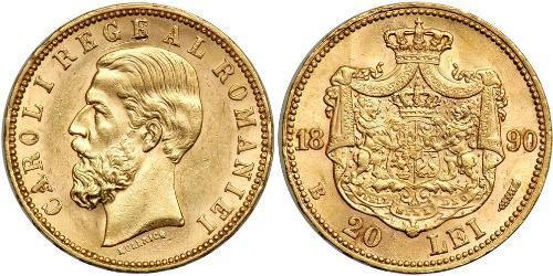 20 Leu Kingdom of Romania (1881-1947) Gold Carol I of Romania (1839 - 1914)