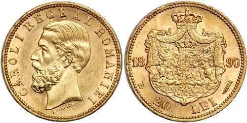 20 Leu Royaume de Roumanie (1881-1947) Or Charles Ier de Roumanie (1839 - 1914)