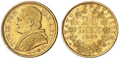 20 Lira 教皇国 (754 - 1870) 金 Pope Pius IX (1792- 1878)