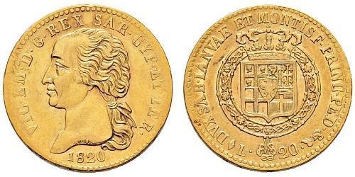 20 Lira Regno di Sardegna (1324 - 1861) Oro Vittorio Emanuele I di Savoia