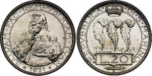 20 Lira San Marino Silber