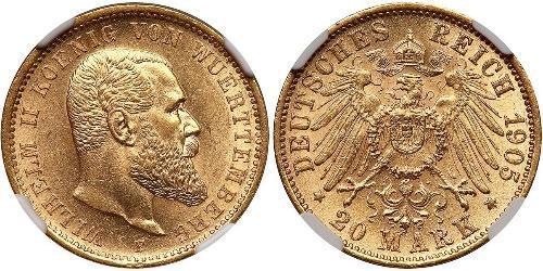 20 Mark Kingdom of Württemberg (1806-1918) 金 威廉二世 (德国)