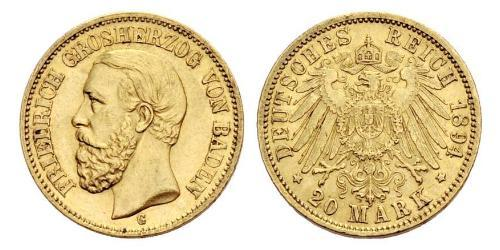 20 Mark Grand-duché de Bade (1806-1918) Or Frédéric Ier de Bade (1826-1907) (1826 - 1907)