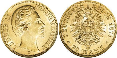 20 Mark Royaume de Bavière (1806 - 1918) Or Louis II de Bavière (1845-1886)(1845 – 1886)