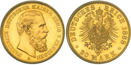 20 Mark Royaume de Prusse (1701-1918) Or Frédéric III (Empire allemand) (1831-1888)