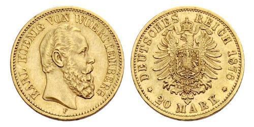 20 Mark Royaume de Wurtemberg (1806-1918) Or Charles Ier de Wurtemberg