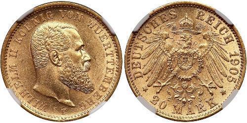 20 Mark Royaume de Wurtemberg (1806-1918) Or Wilhelm II, German Emperor (1859-1941)