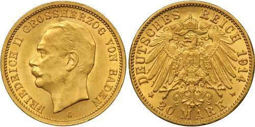 20 Mark Grand Duchy of Baden (1806-1918) Oro Federico II di Baden (1857 - 1928)