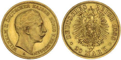 20 Mark Regno di Prussia (1701-1918) Oro Wilhelm II, German Emperor (1859-1941)