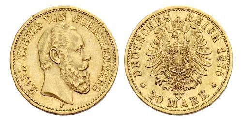 20 Mark Regno di Württemberg (1806-1918) Oro Carlo di Württemberg