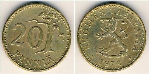 20 Penny Finlande (1917 - ) Bronze/Aluminium