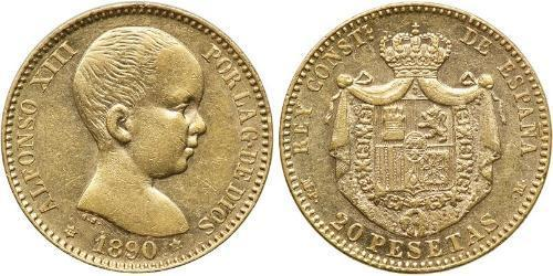 20 Peseta Kingdom of Spain (1874 - 1931) Oro Alfonso XIII of Spain (1886 - 1941)