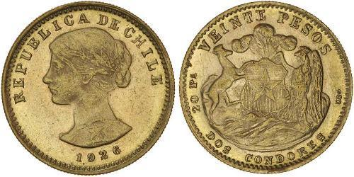 20 Peso Chile Gold