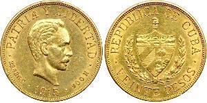 20 Peso Cuba Oro Jose Julian Marti Perez (1853 - 1895)
