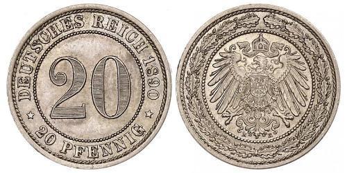 20 Pfennig Imperio alemán (1871-1918)