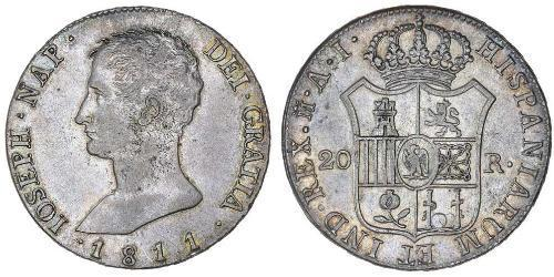 20 Real Kingdom of Spain (1808 - 1813) Silver Joseph Bonaparte