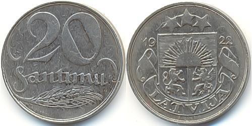 20 Santims Латвия Никель