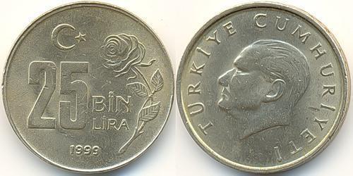 25000 Лира Турция (1923 - ) Никель/Латунь