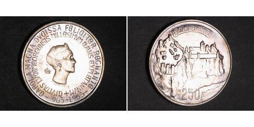250 Franc Lussemburgo Argento