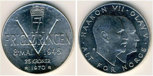 25 Крона Королевство Норвегия (1905 - ) Серебро Хокон VII (1872 - 1957) / Улаф V (1903 - 1991)