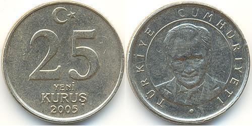 25 Куруш Турция (1923 - ) Никель/Латунь