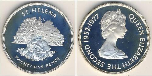25 Пенни Остров Святой Елены (1981 - ) Никель/Медь Елизавета II (1926-)