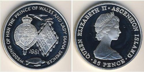 25 Пенни Остров Вознесения Серебро Елизавета II (1926-)