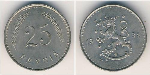 25 Пені Фінляндія (1917 - ) Нікель/Мідь