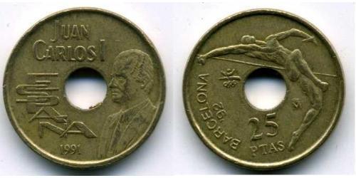 25 Песета Королевство Испания (1976 - ) Бронза/Никель Хуан Карлос I (1938 - )