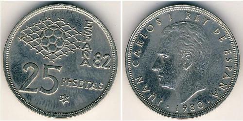 25 Песета Королевство Испания (1976 - ) Никель/Медь Хуан Карлос I (1938 - )