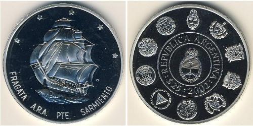 25 Песо Аргентинская Республика (1861 - ) Серебро