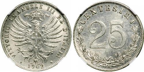 25 Сентесимо Kingdom of Italy (1861-1946) Серебро Виктор Эммануил III (1869 - 1947)