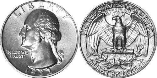 25 Цент США (1776 - ) Мідь/Срібло Джордж Вашингтон