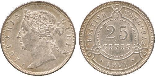 25 Цент Британский Гондурас (1862-1981) Серебро Виктория (1819 - 1901)