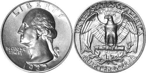 25 Цент США (1776 - ) Серебро/Медь Джордж Вашингтон
